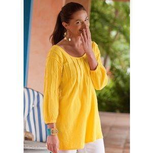 Soft Surroundings Yellow Gauze Pintuck Tunic M